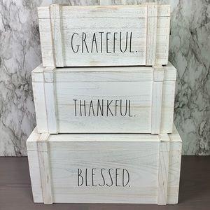 Rae Dunn Thankful, Grateful, Blessed Crates Set